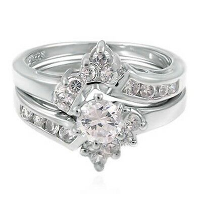 Sterling Silver Wedding set size 7 CZ Round Cut Engagement ring Halo Bridal w31