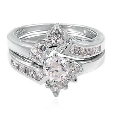 Sterling Silver Wedding set size 8 CZ Round cut Engagement ring Bridal New w31