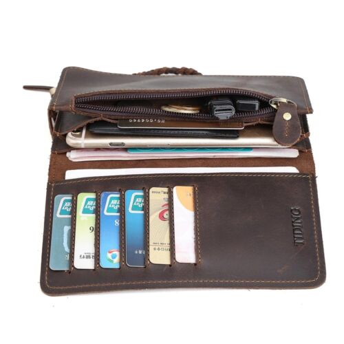 Men/'s Genuine Thick Leather Bifold Wallet Cowboy Purse With Chain Card Holder