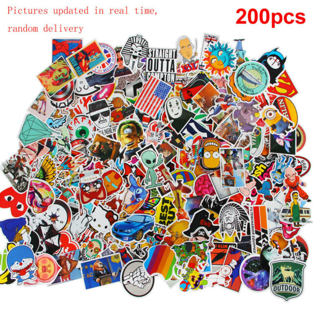 200pcs/lot STREET ART Stickers Decal Vinyl Skate Snow Surf Board Laptop Guitar