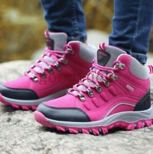 Women-039-s-High-Top-Shoes-Lace-Up-Outdoor-Climbing-Waterproof-Non-slip-Hiking-Boots