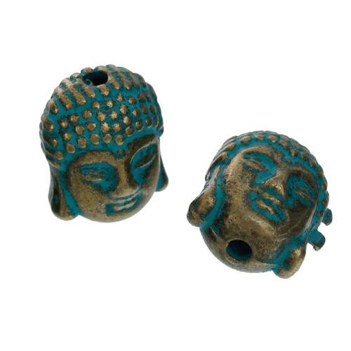Perle Buddha Kopf Mala Metall messing patiniert 11x9mm 2x von BACATUS #01.00046