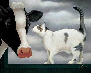 lowell herrero cow and cat farm animals pets print poster