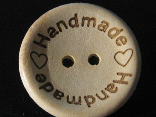 Wood Buttons Sewing Scrapbooking Round Handmade With Love Hearts 15mm 20mm 25mm