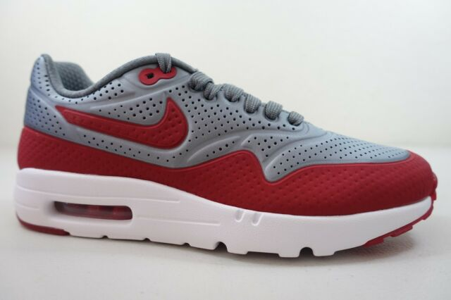 MEN'S NIKE AIR MAX 1 ULTRA MOIRE SHOES SIZE 7 grey red white 705297 006