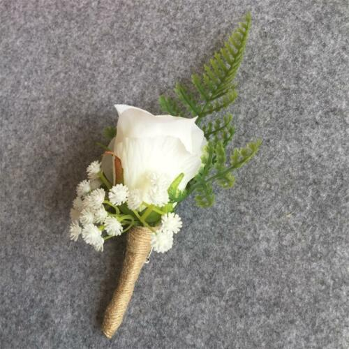 Artificial Man Wedding Boutonniere Groom Brooch Pin Party Prom Rose Flower