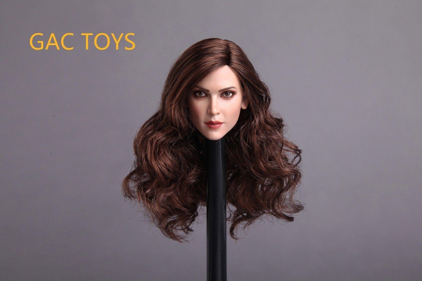 GACTOYS 1 6th  Europe Female Head Carving W Long Curls Hair GC004A