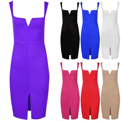 Womens Ladies Front Split Wide Strap V Plunge Neck Pencil Fit Bodycon Midi Dress