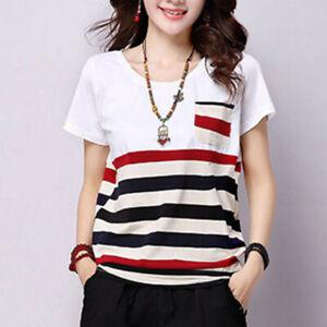 Women-Summer-Short-Sleeve-Blouse-Striped-O-neck-Loose-Casual-T-Shirt-Tops-M-3XL