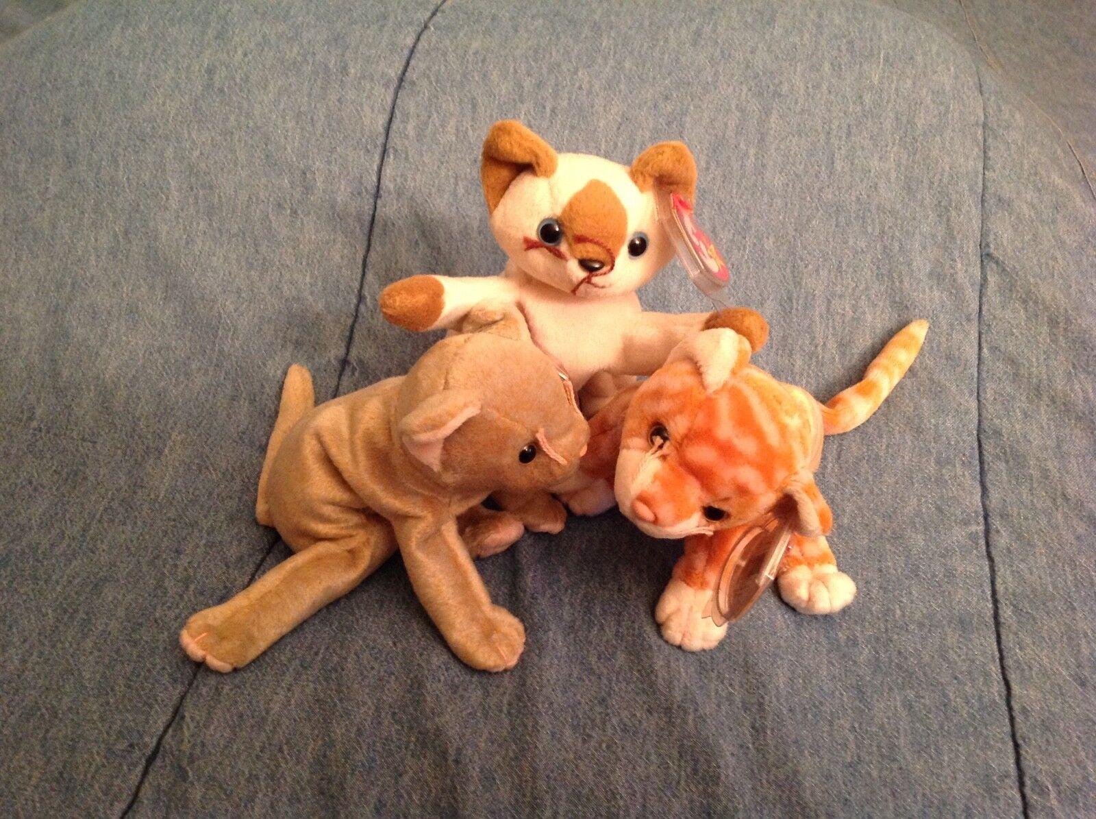 SET OF 3 MINT MINT MINT RETIRED CAT BEANIES = SCAT (BROWN), SNIP (SIAMESE) & AMBER (TABBY) e6d72f