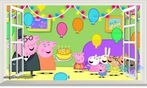 Peppa Pig Family Birthday Party 3d Window Wall Decals Kids