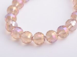 20pcs10mm-96Facet-Round-Faceted-Crystal-Glass-Loose-Beads-Silver-Champagne-AB