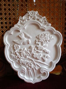 Stucco-Stuckbild-101-339-Relief-Voegel-Jugendstil-Medallion-aus-Stuck