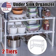 FlagShip 2 Tiers Under Sink Strainer Cabinet Shelf Kitchen and Bath Stainless Steel Organizer Storage Rack