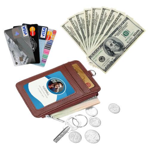 Leather ID Badge Card Holder Neck Lanyard Wallet W// Zipper RFID Blocking Pocket