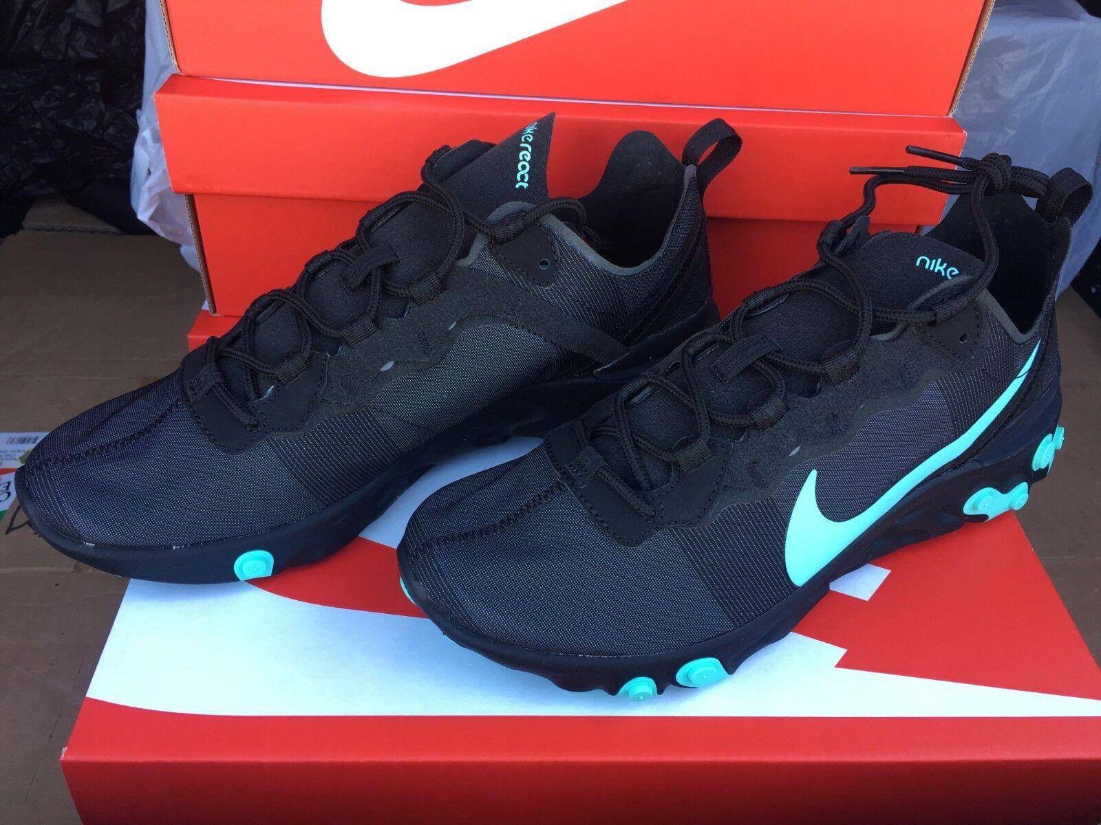 Nike Air React Element 55 Black Aurora Green bluee BQ6166-004 Men's 8-13