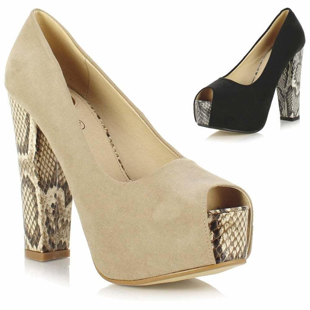 Ladies Womens Platform High Block Heel Concealed Platform Womens Peep Toe Court Shoes Sandals 5aadea