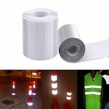 1PC Car Reflective Safety Warning Conspicuity Roll Tape Film Sticker Decal White