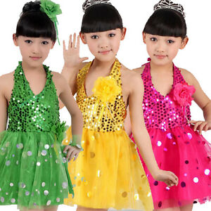4227b066e7a98 Image is loading 6-Colors-Girls-Sequins-Dancing-Dress-Kids-Ballroom-