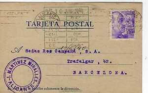 Tarjeta Postal Año 1940 de Alicante A Barcelona - España - Tarjeta Postal Año 1940 de Alicante A Barcelona - España