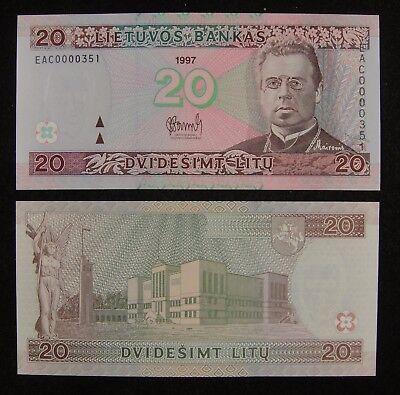 LITHUANIA 20 LITU 1997 P 60 UNC