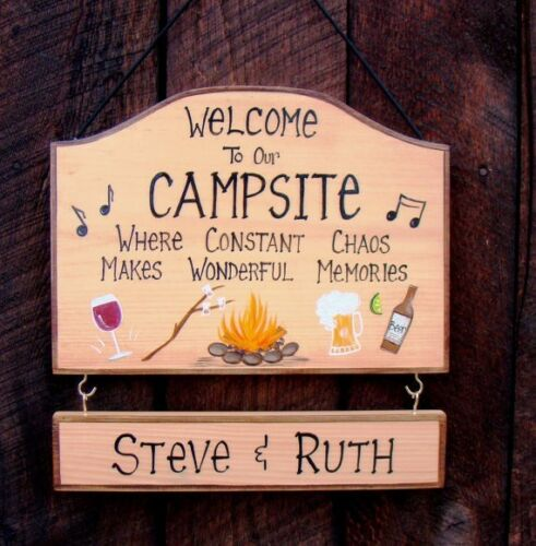 Personalized Welcome Camp Campsite Sign Hand Painted Beer Wine Fire Camping Fun