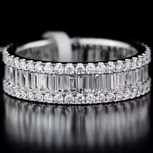 1-5Ct-100-Natural-14K-White-Gold-Baguette-Round-Cocktail-Diamond-Band-Ring-RU2