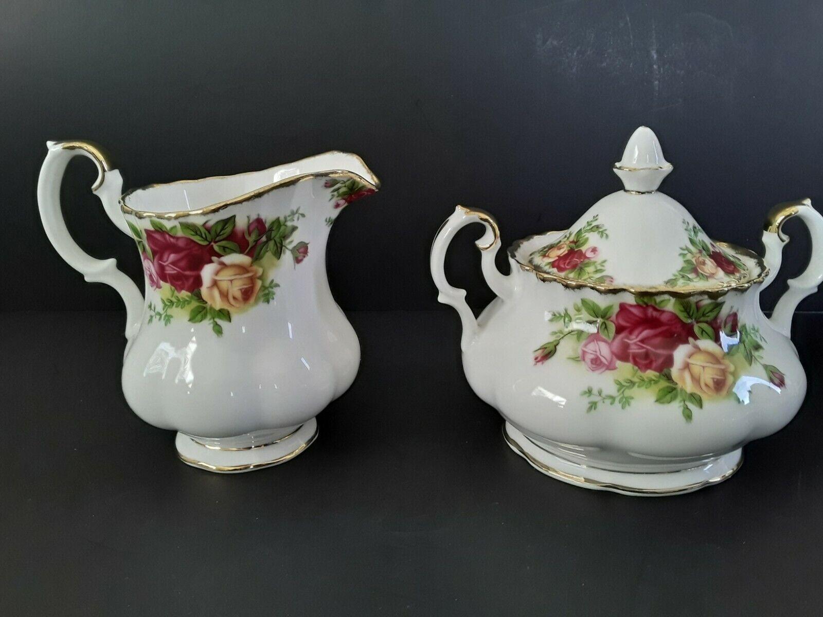 SALE Royal Albert Old Country Roses Bunny Rabbit Sugar and Creamer