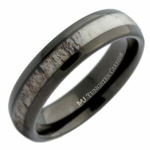 6mm-Deer-Antler-Inlay-Black-Wedding-Band-Tungsten-Carbide-Ring