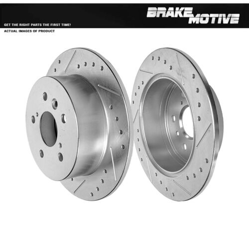 For Toyota Camry Avalon Lexus ES350 Rear Drilled And Slotted Brake Rotors