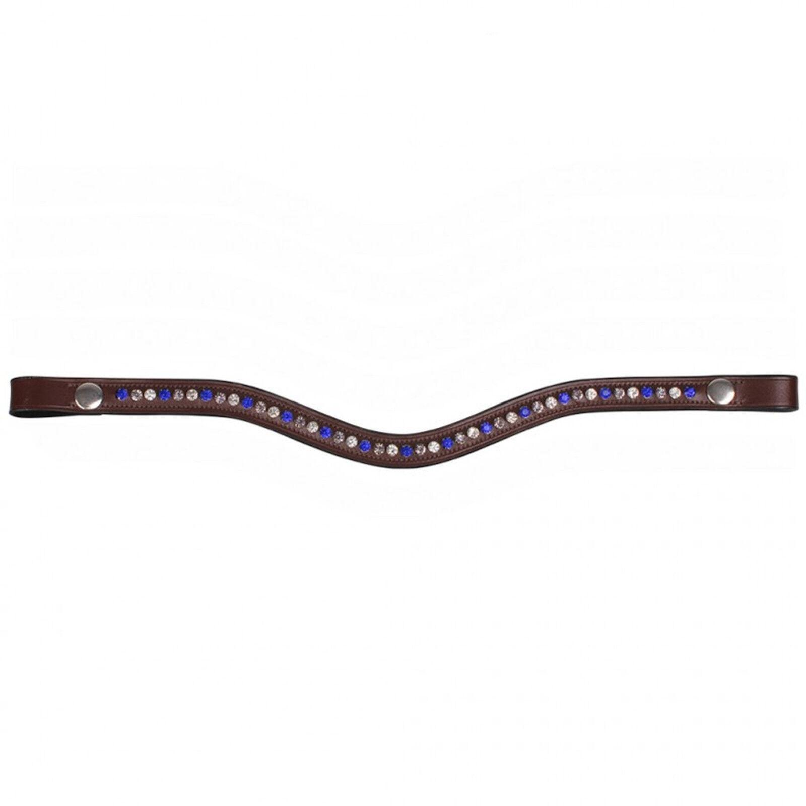 QHP Leder Stirnband Floria brown große farbige Strass-Steine 4 Größen