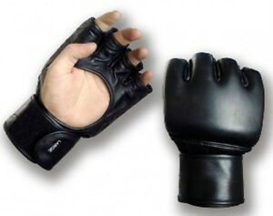 Playwell-MMA-Open-Palm-Leather-Gloves-Training-Cage-Fight-Punching-Sparring