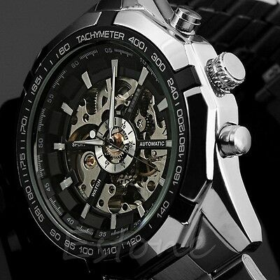 Black Dial Mens Skeleton Stainless Steel Automatic Mechanical Army Wrist Watch