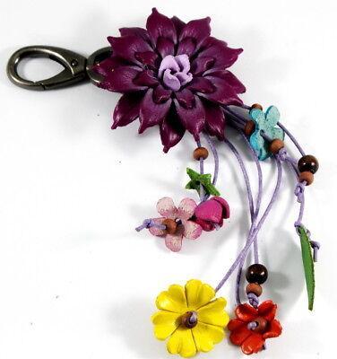 Dahlia Handmade Flower Keychain Key Ring Purse Charm Genuine Leather Craft Red