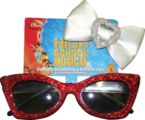 Gabriella Red Glitter Sunglasses Heart Bow Hair Clip Dress Up Costume Accessory