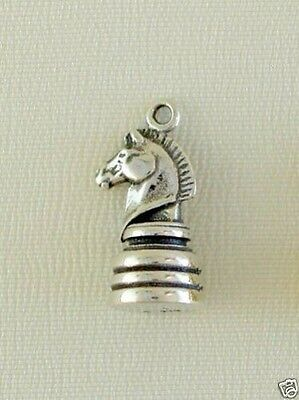 Chess Knight Traditional Charm Jewelry - 925 Sterling Silver