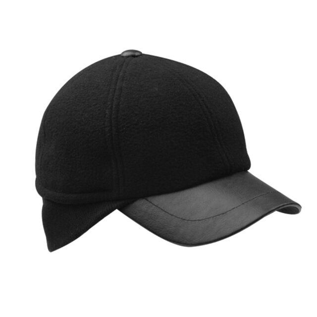 761d2f25323 Winter Wool Baseball Cap Hat With Ear Warmer Flap Black XL 60 Cm for ...