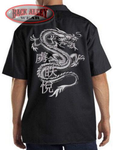 Chinese Dragon Mechanics Work Shirt Biker M-3XL Asian Dragons Oversized