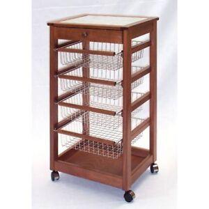 Carrello da cucina portafrutta in legno con cassetto   eBay