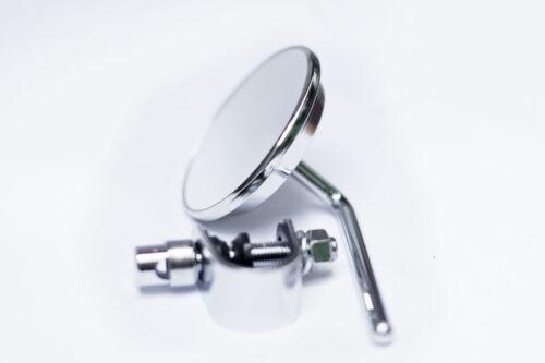 Chrome Short Stem Clamp on Mirror for your Cafe Racer Tracker Bobber