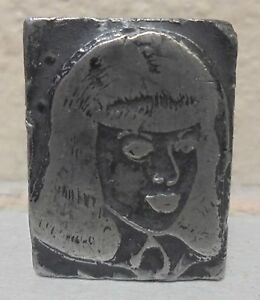 Vintage Lady Person Letterpress Printing Block All Metal