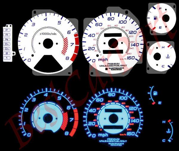 95-98 Acura TL BLUE INDIGLO REVERSE GLOW WHITE GAUGES