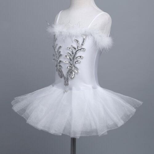 Kinder Mädchen Ballett Tutu Kleider Trikot Schwan Ballerina Kostüm Kleid Weiß