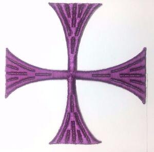 Vintage-Cuadrado-Cruz-6-034-Bordado-para-Coser-Purpura-C-Maltes-Emblema-Parche-2PC