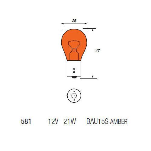 10 x Ring R581 PY21W BAU15S Amber Front Indicator Signal Light Bulb 581 12v 21w
