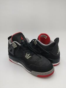 new concept 2911b 59f37 Details about Nike Air Jordan Jordan 4 Retro Black Cement Red Bred Sz 6  VNDS 408452-089