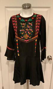 "Joie ""Gosinda"" Black Boho Floral Embroidered Drop Waist Dress, Size XS, NWT!"