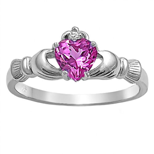 Sterling Silver 0.765 Ct Coeur-Cut Rose ice zircon Dublin Claddagh Ring NIAM