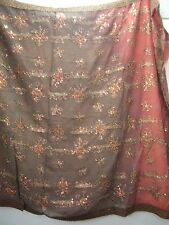 Vintage Russet & Brown Dupatta Indian Scarf Embroidered Sarong Veil Stole Hijab