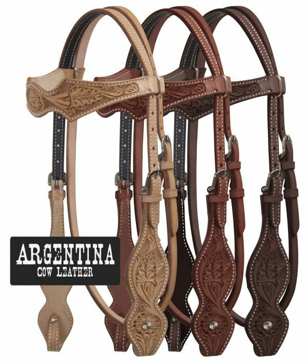 Full Horse Western Browband silverina Floral Tooled Leather Bridle Headstall